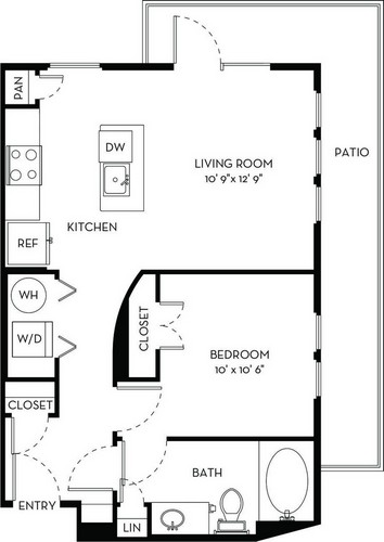 614 sq. ft. A1.2 floor plan