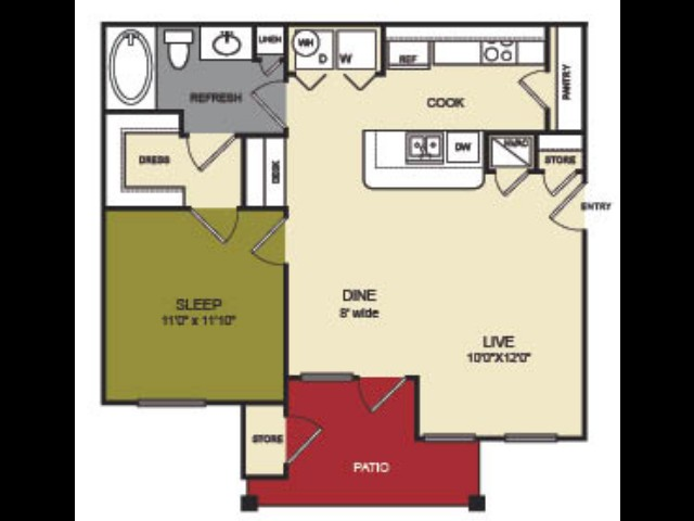 751 sq. ft. Blanco floor plan