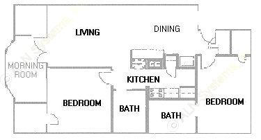 1,009 sq. ft. B6 floor plan