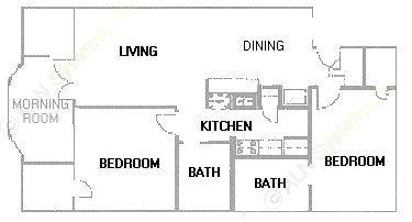 1,009 sq. ft. B6 floor plan