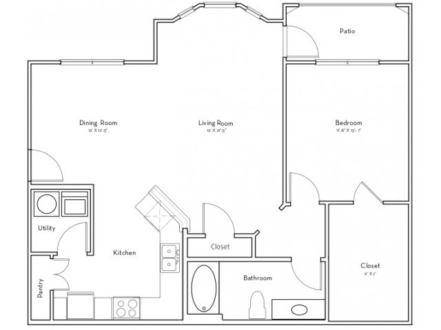 931 sq. ft. Heritage floor plan
