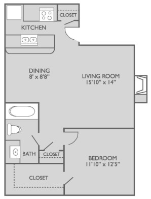 650 sq. ft. A1n3 floor plan