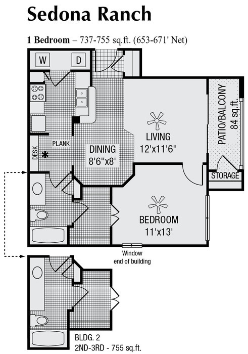 653 sq. ft. to 737 sq. ft. floor plan