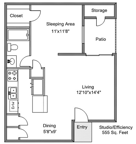 555 sq. ft. A floor plan