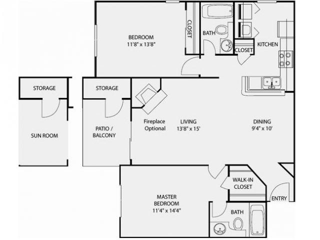 1,035 sq. ft. B3 floor plan