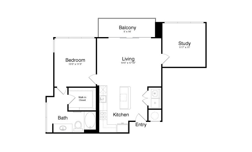 980 sq. ft. A11 floor plan