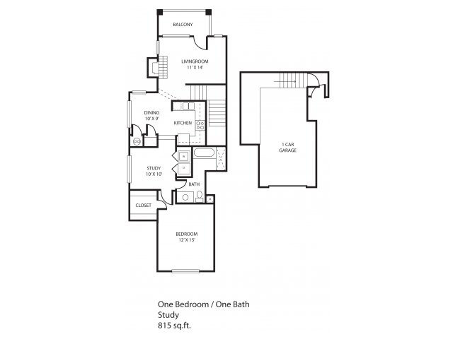 815 sq. ft. Hillcrest floor plan
