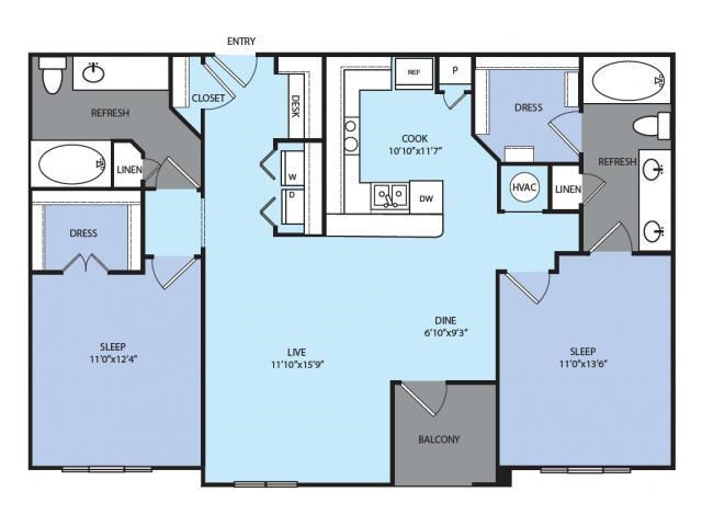 1,110 sq. ft. B3 floor plan