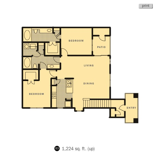 1,224 sq. ft. Campbell floor plan