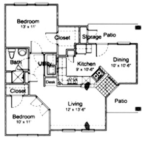 920 sq. ft. 60% floor plan