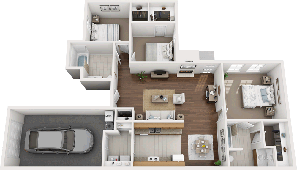 1,292 sq. ft. HC-60% floor plan