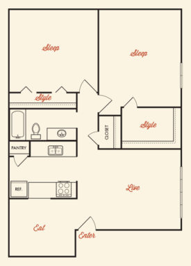 920 sq. ft. ABP-B4R floor plan