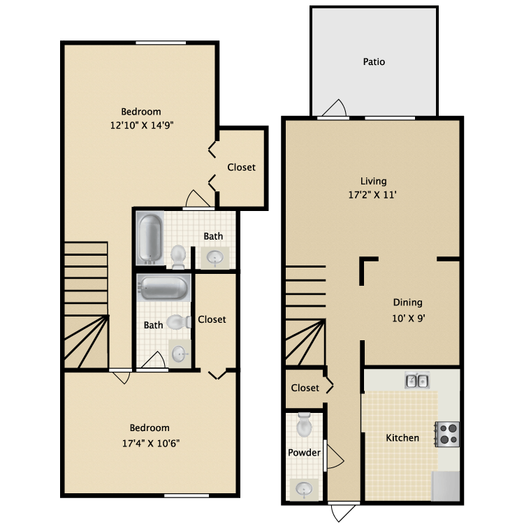 1,261 sq. ft. B2 floor plan
