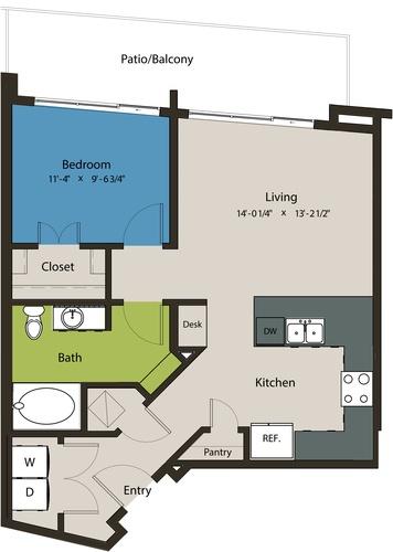728 sq. ft. A1E floor plan