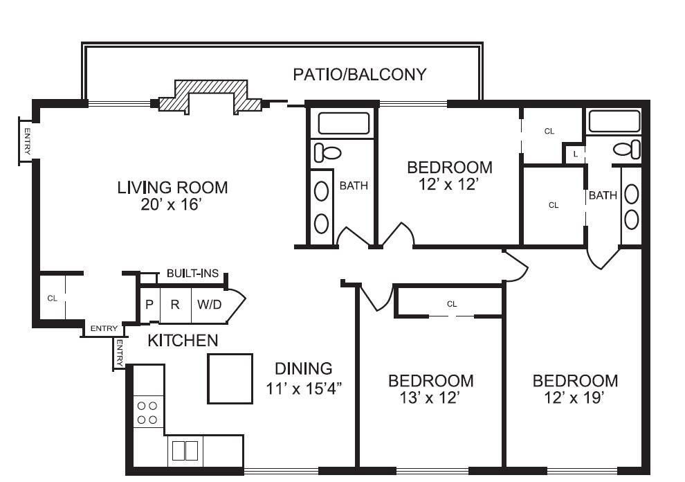 1,582 sq. ft. C3 floor plan