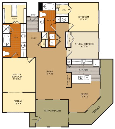 1,686 sq. ft. C2 floor plan