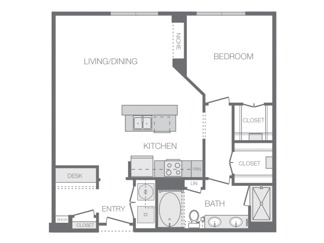 947 sq. ft. I floor plan