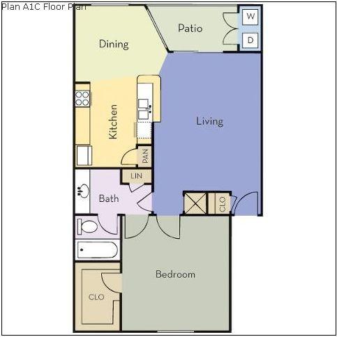 675 sq. ft. Cedar floor plan