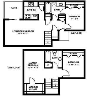 1,250 sq. ft. Three TH floor plan