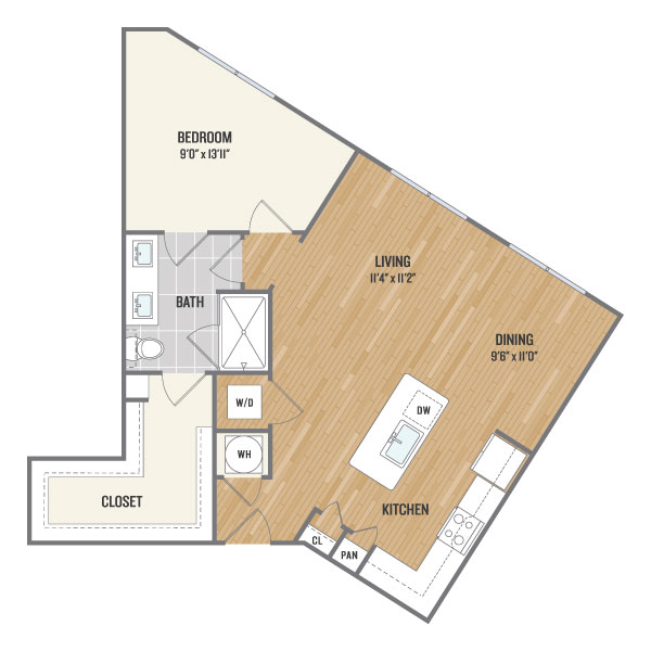 866 sq. ft. A6 floor plan