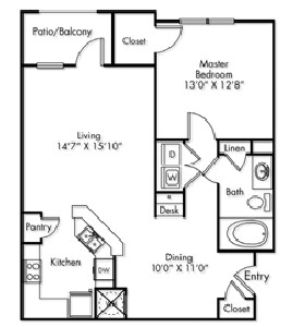 880 sq. ft. A1 floor plan