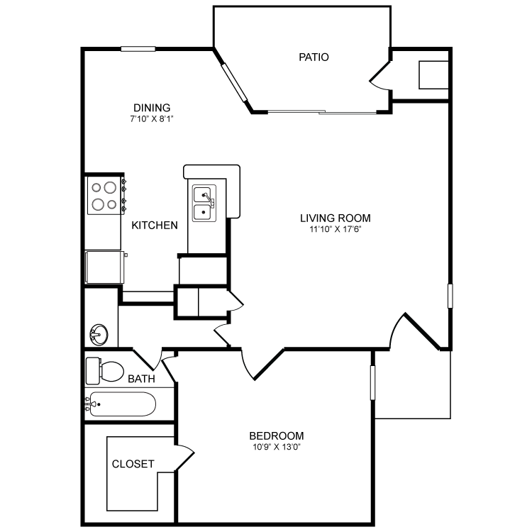 648 sq. ft. A3 floor plan