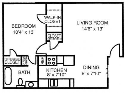 622 sq. ft. Chalet floor plan