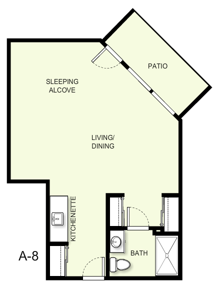 563 sq. ft. A8 floor plan
