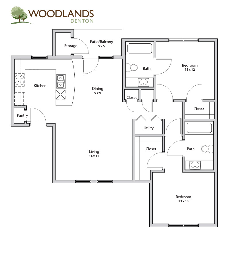 1,000 sq. ft. Walnut floor plan