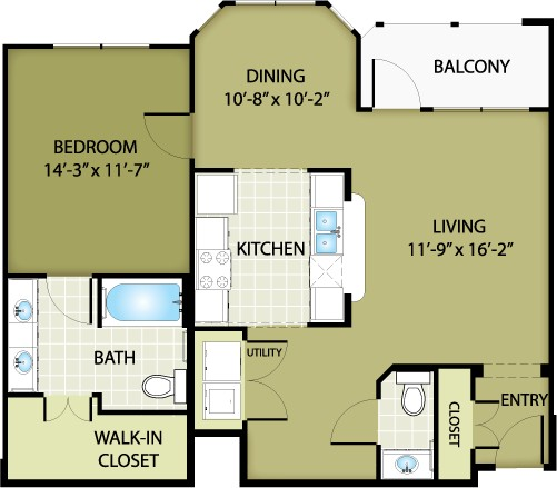 909 sq. ft. PRADA floor plan