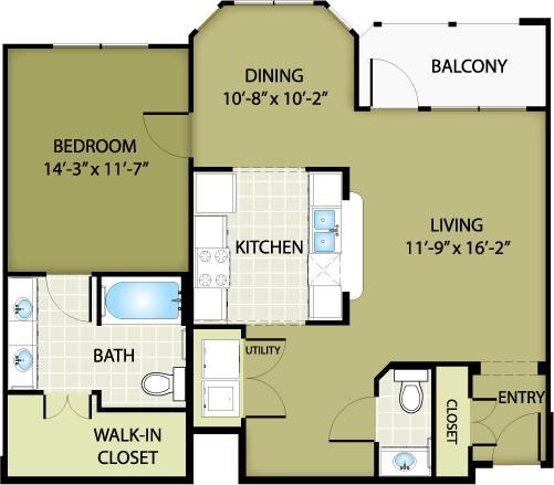 909 sq. ft. PRADA floor plan