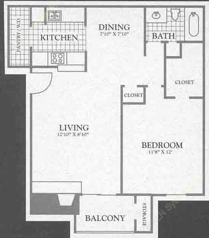 669 sq. ft. Sierra Ridge floor plan