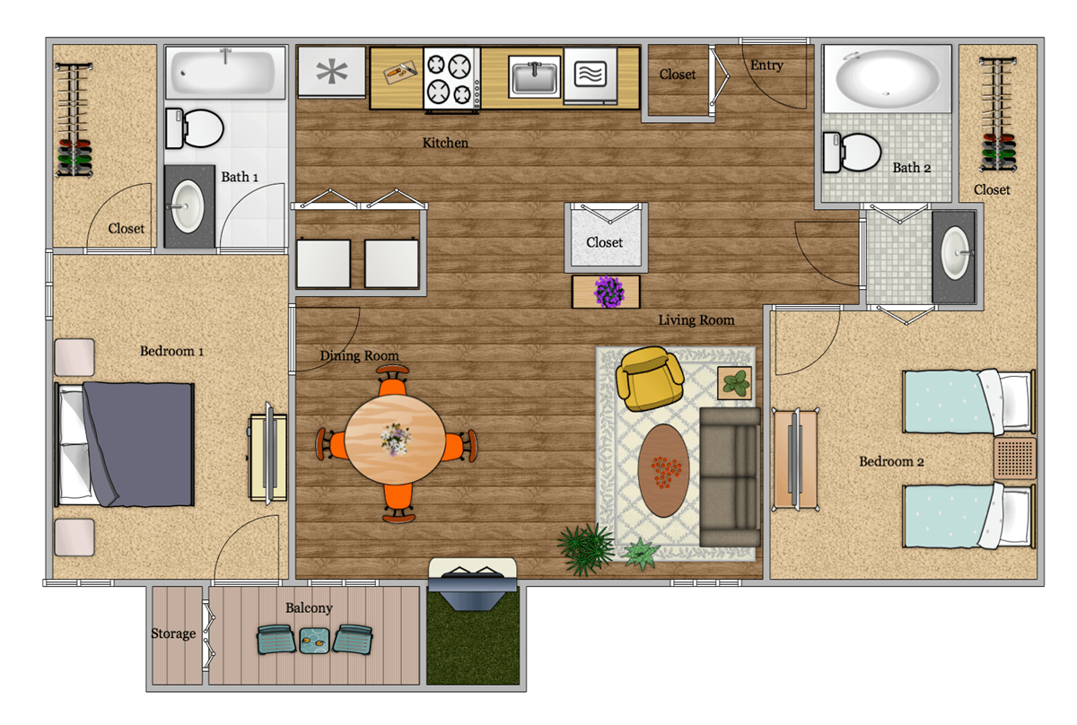 791 sq. ft. B3 floor plan