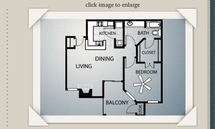 791 sq. ft. A3 floor plan