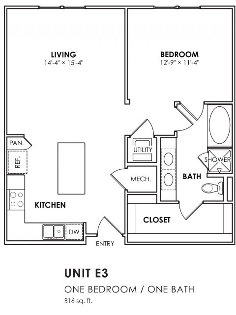816 sq. ft. E3 floor plan