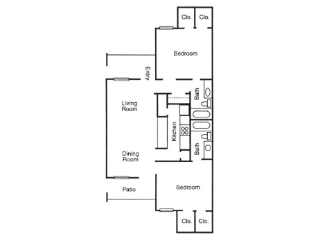 998 sq. ft. Aspen floor plan