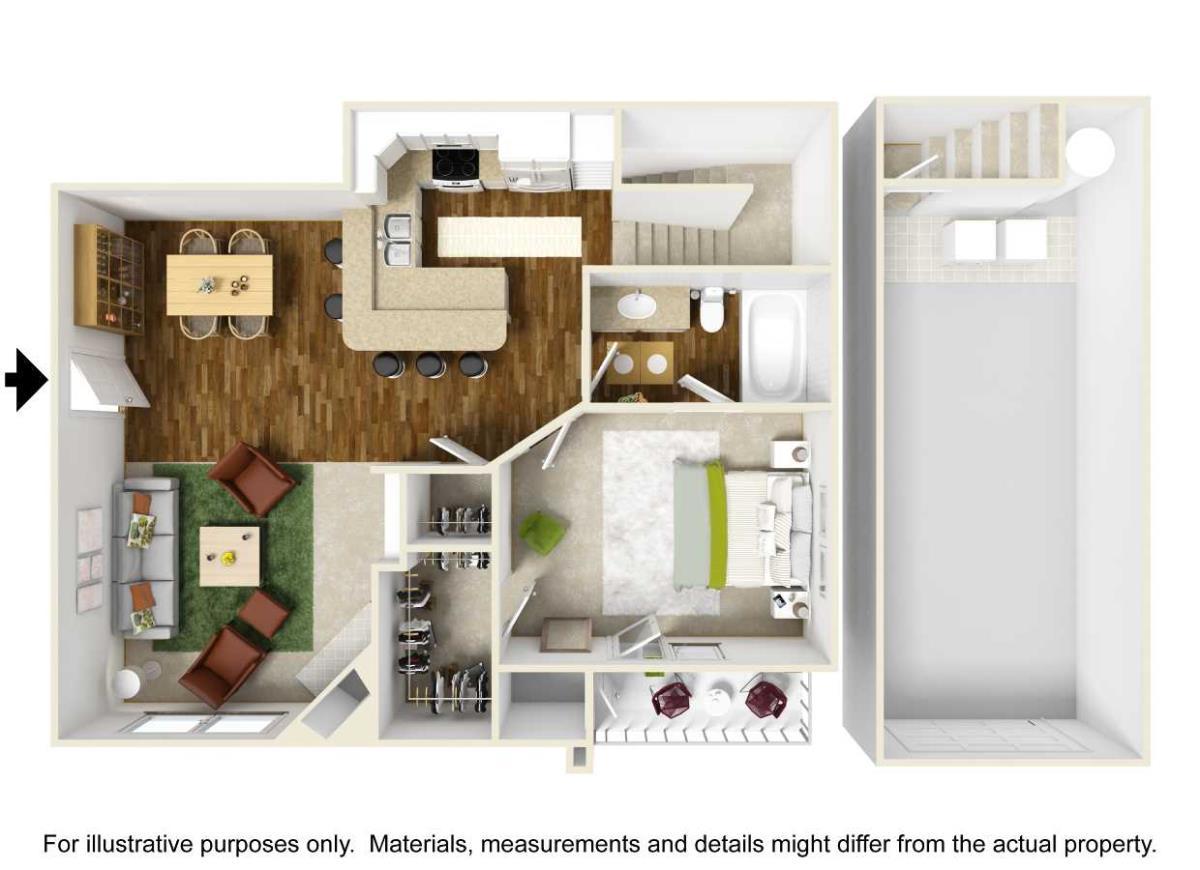 737 sq. ft. A4 floor plan