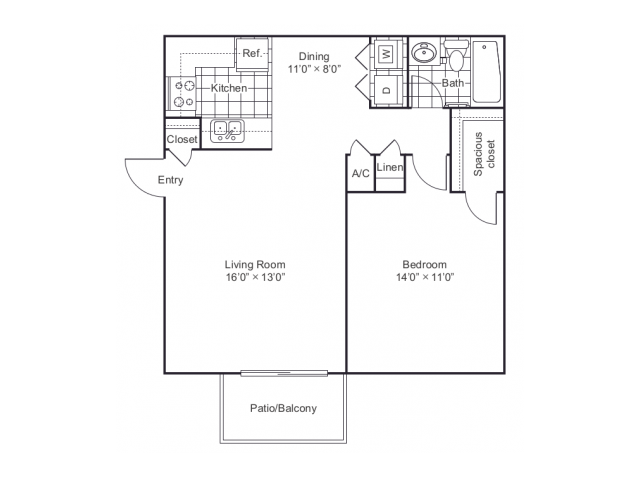 700 sq. ft. A1 floor plan