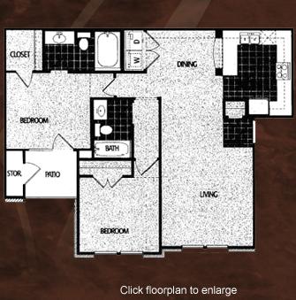 985 sq. ft. B1/60 floor plan