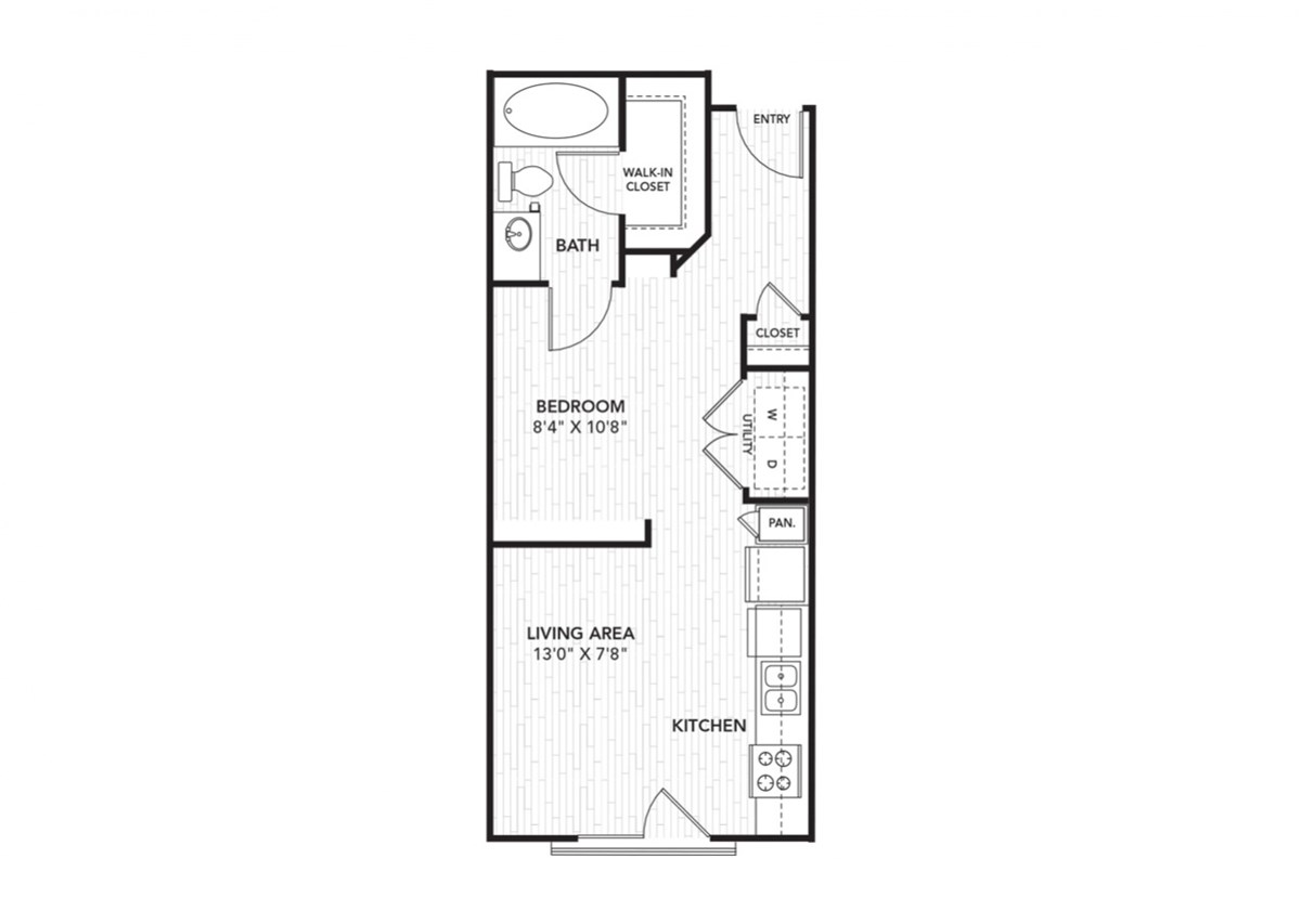 518 sq. ft. Studio floor plan