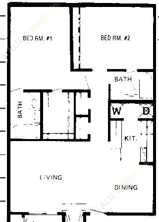 950 sq. ft. C floor plan