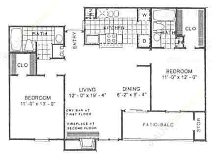 1,016 sq. ft. Bradford floor plan