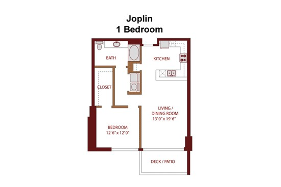 874 sq. ft. Joplin A4 floor plan