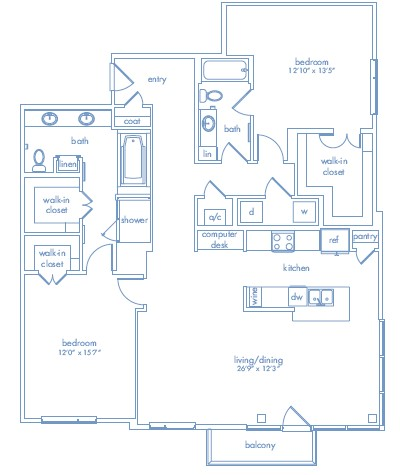 1,614 sq. ft. CEZANNE ONE floor plan