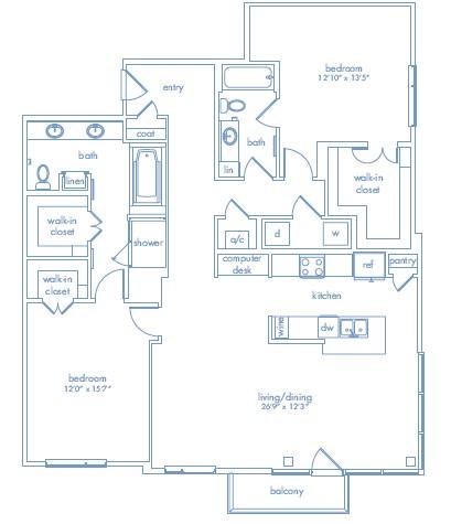 1,614 sq. ft. Cezanne One floor plan