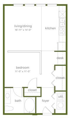 689 sq. ft. A floor plan