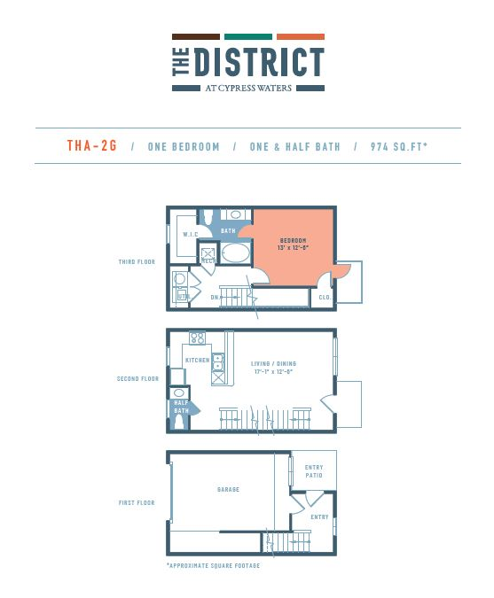 974 sq. ft. THA2G floor plan