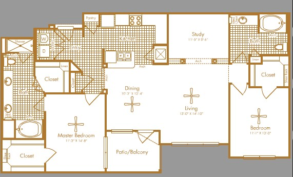 1,428 sq. ft. SUNSET floor plan