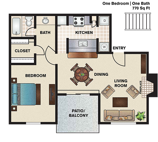 770 sq. ft. A2 floor plan