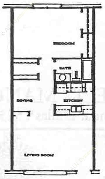 702 sq. ft. A2 floor plan